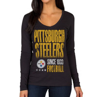 Pittsburgh Steelers Women's O-Line V-Neck Long Sleeve T-Shirt – Black