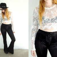 Vintage SHEER LACE Crochet Floral White Long Sleeve Crop Top // Bohemian Gypsy Hippie // XS Extra Small / Small