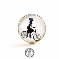Lady on Bike Ring, Bicycle Ring, Photo Glass Jewelry, Art Jewelry, Adveture Jewelry, Black and White Ring, Adjustable Ring, Picture Ring