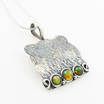 Ethiopian Opal Sterling Silver Whimsical Pendant