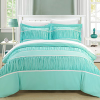 Chic Home 3 Piece Besily Pleats and Ruffled Duvet Cover Set, King, Aqua
