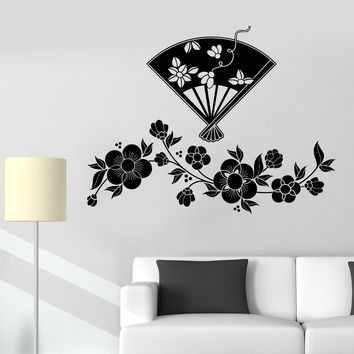 Vinyl Wall Decal Flowers Japanese Fan Room Decor Stickers Unique Gift (673ig)