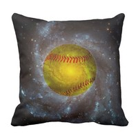 Softball in Space Unique Softball Pillow