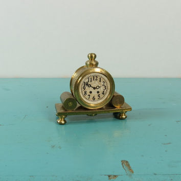 Brass Miniature Mantle Clock Holland Vintage Dollhouse