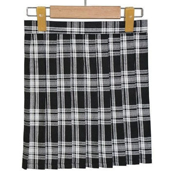Girls Lady Plaid Pleated Mini Skirt Uniform Cosplay Japan School S-XL