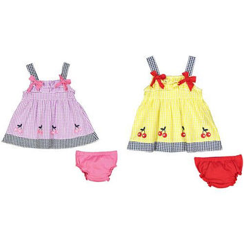 Baby Girl Seersucker Dress with Panty - Plaid Cherry Print