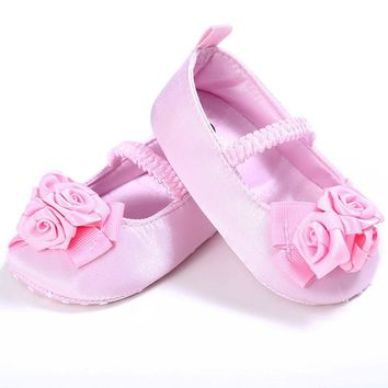 baby girl shoes newborn Soft Sole Crib Toddler Newborn Shoes Flowers first walker blac