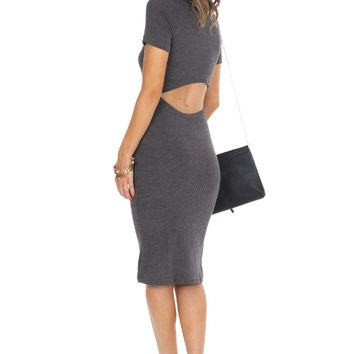 Knit Midi Cutout Dress Grey