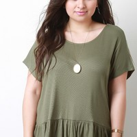 Rib Knit Short Sleeve Peplum Top