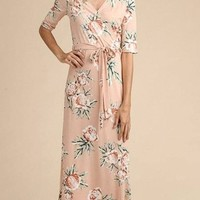 """Calabash"" Peonies Floral Wrap Maxi Dress"