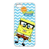 Funny Animation SpongeBob SquarePants Blue Chevron Art Leather Wallet Case Cover for iphone 5S