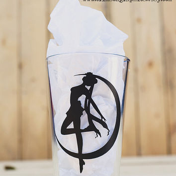 Sailor Moon Crescent Moon Silhouette Glassware || 16 oz. Pint Glass