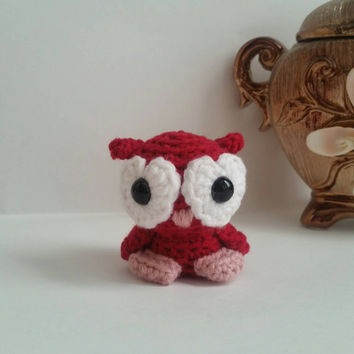 Valentine Owl Amigurumi Stuffed Animal Mini Pet Love Bird Kawaii Chibi Gift Toy Collectible Room Decor