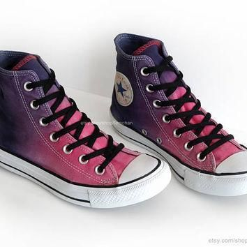 ombr dip dye converse all stars raspberry pink purple ink blue upcycled vintage s