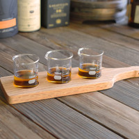 Rustic wooden tasting tray, whiskey tasting, beer tasting, whiskey flight, tasting board, sample board, oak taster, scotch taster, bourbon