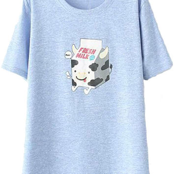 Cartoon Cow Print Short Sleeve T-Shirt