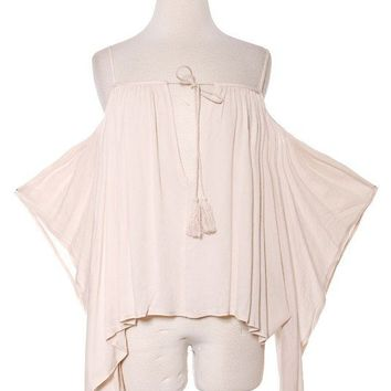 POETIC OPEN SHOULDER TASSEL ACCENT BLOUSE - NATURAL