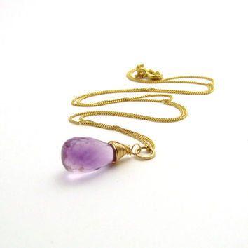 14k gold amethyst necklace, February birthstone, light purple amethyst jewelry, solid gold necklace, solid gold amethyst gemstone pendant