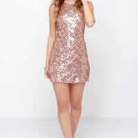 Pink Sleeveless Cut Out Back Sequined Dress - Sheinside.com