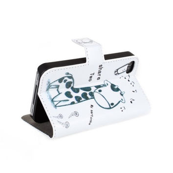 fashion new Giraffe Wallet Leather Case For iPhone 4 4S with Stand TV Function & card slots