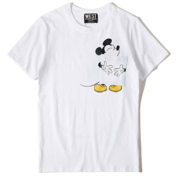 Mickey Mouse New fashion pocket couple short-sleeved T-shirt print loose top White