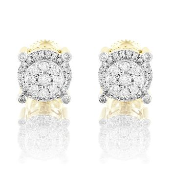 10k Gold Round 4 Prong Micro Pave 8MM Real Diamonds Studs