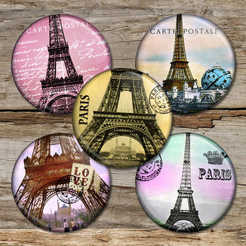 Paris Eiffel tower 1 inch bottle cap images for Pendants, Bottle caps, Earrings, Cufflinks, Magnets Digital Collage Sheet