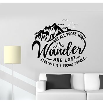 Vinyl Wall Decal Motivation Words Quote Mountains For Traveler Stickers (3261ig)