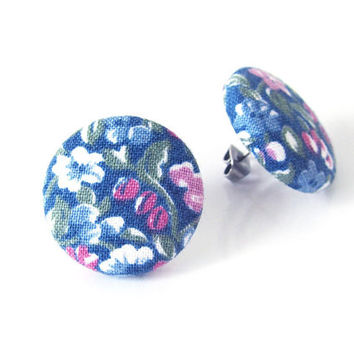 Gift for her - vintage style fabric earrings - large button earrings - floral stud earrings - blue flower jewelry - nickel free studs