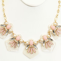 Pink Stone Icicle Necklace Set