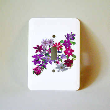 Decorated light switch plate, Clematis flowers, floral decor, gardener, wall decoration, ornamental vine, purple, red, lavender, pink