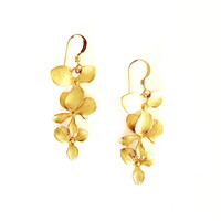 Matte Gold Cascading Orchid Earrings