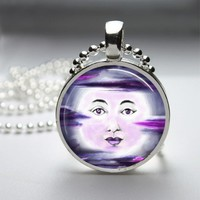 Purple Moon Glass Tile Bezel Pendant Necklace