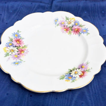Collectible Porcelain Plate, Cake Plate, Dessert Plate, Bone China, Fine China, Plate With Flowers, Vintage Plate, Victoria Bone China
