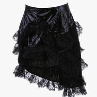 Black Tiered Floral Lace Asymmetrical Skirt