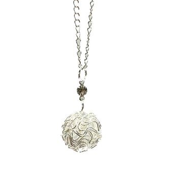 Silver Plated Hollow Ball Pendants Necklaces For Women