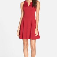 Junior Women's Everly Split Neck Fit & Flare Dress ,