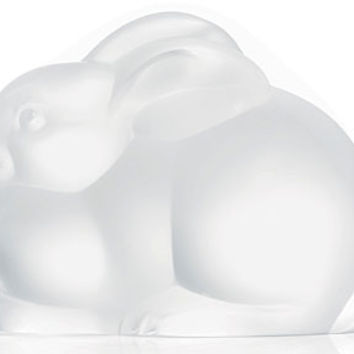 Lalique Resting Rabbit Crystal Figurine 12105