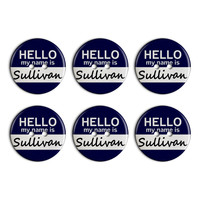 Sullivan Hello My Name Is Plastic Resin Button Set of 6