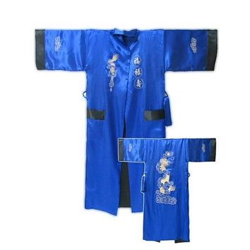 Kimono Reversible Men's Satin Embroider Robe Gown Sleepwear Bathrobe with Dragon YF1189