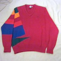 Vintage Rare 80s OCEAN PACIFIC RAINBOW Side Stripes Winter Wear Unisex Medium Acrylic Surf Hip V-Neck Sweater