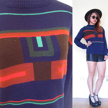 Vintage 80's light sweater graphic abstract 60's style mod novelty print fitted pop art  pullover