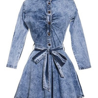 Blue Long Sleeve Denim Button Design Dress with Sash