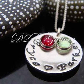 D2E Mothers sterling silver hand stamped necklace with birthstones