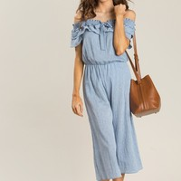 Darcy Chambray Off the Shoulder Jumpsuit