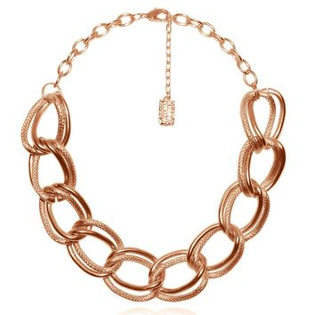 EMMA DOUBLE LINK STATEMENT NECKLACE IN ROSE GOLD