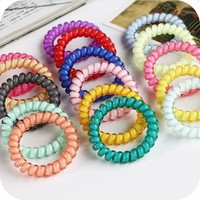 New Korean Candy Colors Telephone Line 5CM Elastic Hair Bands Headbands For Women Hair Accessories Girls Rubber Bands Hair Ropes