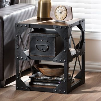 Baxton Studio Hudson Rustic Industrial Style Antique Black Textured Finished Metal Distressed Wood Occasional Side Table Set of 1