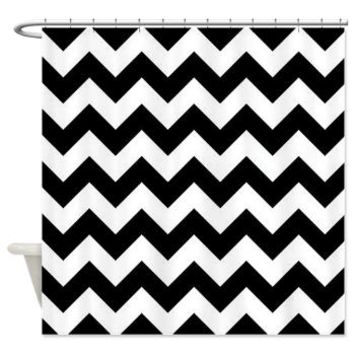 Black With White Chevron Stripes Shower Curtain> Black And White Chevron> KCavender Home Goods