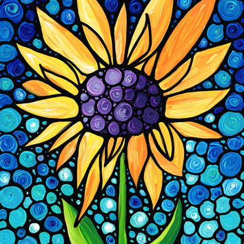 Sunflower Art Standing Tall Blue Sky Painting Flower Floral Garden Mosaic Sharon Cummings Labor of Love Stained Glass Look Landscape Yellow